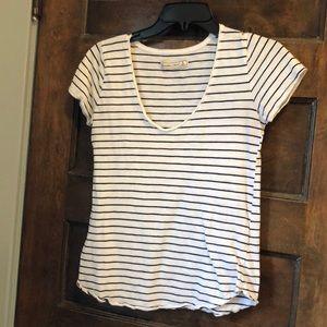 Black & white stripe short sleeve V neck S A&F